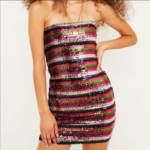 NWT Urban Outfitters Rainbow Sequin Tube Dress